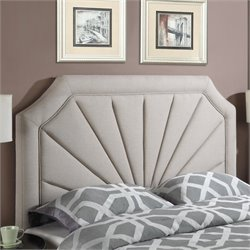 PRI Fabric Upholstered Fan Panel Headboard in Beige