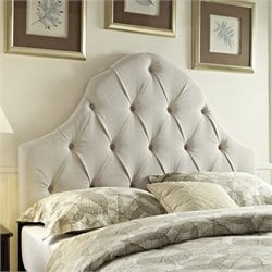 PRI Round Top Tufted Panel Headboard in Taupe