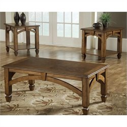 Bernards 3 Piece Coffee Table in Brown Cherry Finish