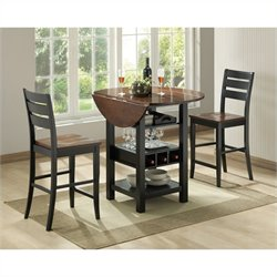 Bernards Ridgewood Drop Leaf Round Wood Dining Table in Black