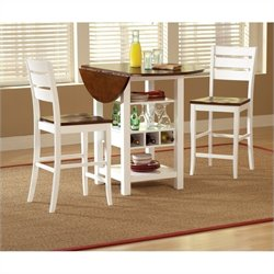 Bernards Ridgewood Drop Leaf Round Wood Dining Table in White