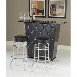 Vinyl and Crystal Studs/Chrome Home Bar Set in Black
