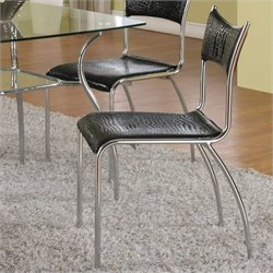 Chintaly Daisy Slim Upholstered Back  Dining Chair in Black and Chrome