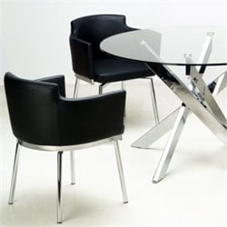 Chintaly Dusty Club Style Swivel Arm Dining Chair in Black and Chrome