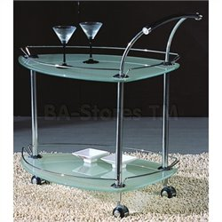 Chintaly Rolling Tea Cart with Frosted Glass in Chrome