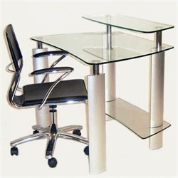 Chintaly Computer Desk with Metal Legs in Stainless Steel
