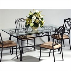 Chintaly Rectangular Glass Top Wrought Iron Dining Table in Antique Taupe