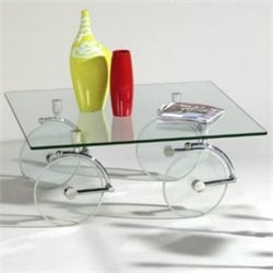 Chintaly Glass Caster Cocktail Table in Clear and Chrome