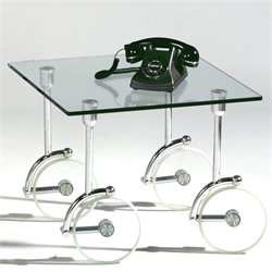 Chintaly Glass Caster Lamp Table in Clear and Chrome