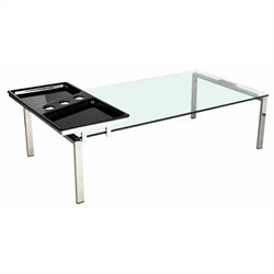 Chintaly Rectangle Glass Top Cocktail Table with Motion Tray in Chrome