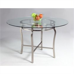 Chintaly Angelina Pedestal Dining Table in Nickel Plated