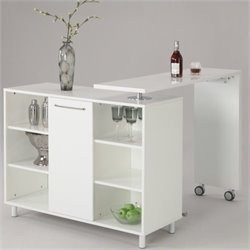 Chintaly Barclay All White Extendable Home Bar in White