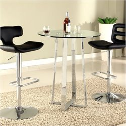 Chintaly Chambers High Bar Table with Glass Top in Chrome
