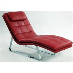 Chintaly Corvette Leather Chaise Lounge with Chrome Legs in Red