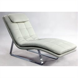 Chintaly Corvette Leather Chaise Lounge in White