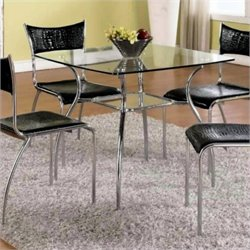 Chintaly Daisy Square Glass Top Dining Table in Chrome