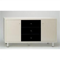 Chintaly Deborah Modern High Gloss Lacquer Buffet in Black and Beige