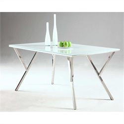 Chintaly Jade Starphire Rectangular Dining Table in Stainless Steel