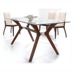Chintaly Luisa 5 Piece Rectangular Glass Top Dining Set