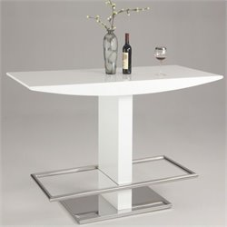 Chintaly Orchard Polished Stainless Steel Home Bar in High Gloss White