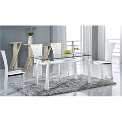 Chintaly Ramona Rectangular Glass Top 5 Piece Dining Set