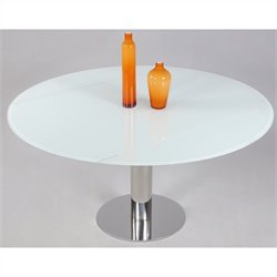 Chintaly Tami Extendable Round Top Dining Table in Stainless Steel