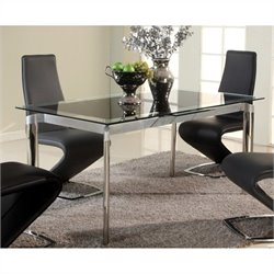 Chintaly Tara Extendable Glass Dining Table in Chrome