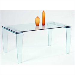 Chintaly Vera All Glass Rectangular Dining Table in Clear