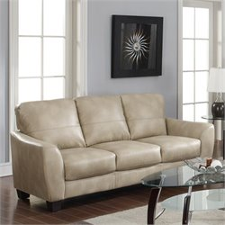 Chintaly Fremont Club Leather Sofa in Taupe