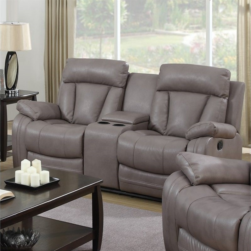 Chintaly Modesto Faux Leather Loveseat in Gray - MODESTO ...