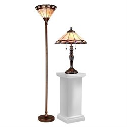Dale Tiffany Peacock Lamp Set