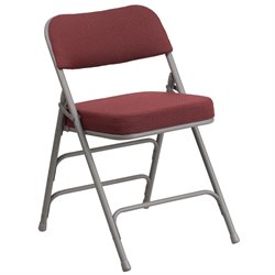 Metal Folding Fabric Chair in Burgundy and Gray