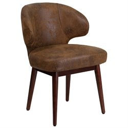 Microfiber Lounge Chair in Brown and Walnut