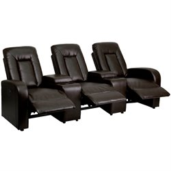3 Seat Leather Reclining Home Theater Seating in Brown