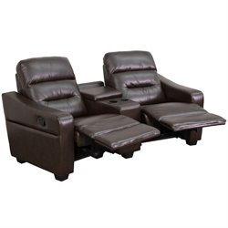 2 Seat Leather Reclining Home Theater Seating in Brown