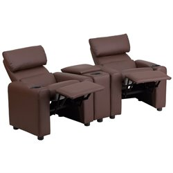 2 Seat Leather Reclining Kids Theater Seating in Brown
