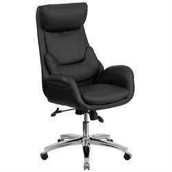 High Back Leather Swivel Office Chair in Black