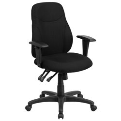 Mid Back Fabric Swivel Office Chair in Black
