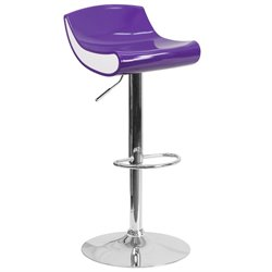 Plastic Adjustable Bar Stool in Purple and White