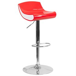 Plastic Adjustable Bar Stool in Red and White