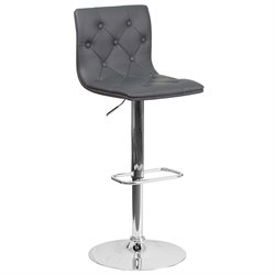 Faux Leather Tufted Adjustable Bar Stool in Gray