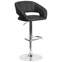 Faux Leather Adjustable Bar Stool in Black