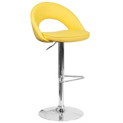 Faux Leather Adjustable Bar Stool in Yellow