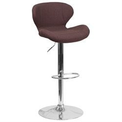 Fabric Adjustable Bar Stool in Brown