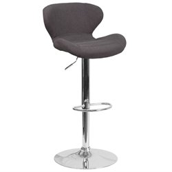 Fabric Adjustable Bar Stool in Black