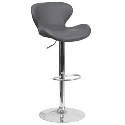 Faux Leather Adjustable Bar Stool in Gray