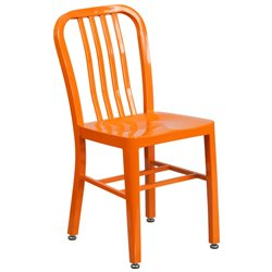 Indoor-Outdoor Metal Dining Chair in Orange