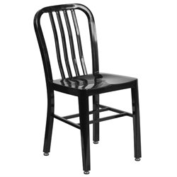 Indoor-Outdoor Metal Dining Chair in Black