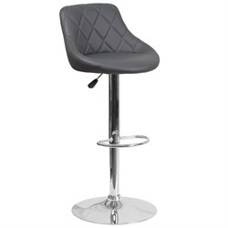 Faux Leather Adjustable Bucket Seat Bar Stool in Gray