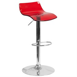 Transparent Acrylic Adjustable Bar Stool in Red